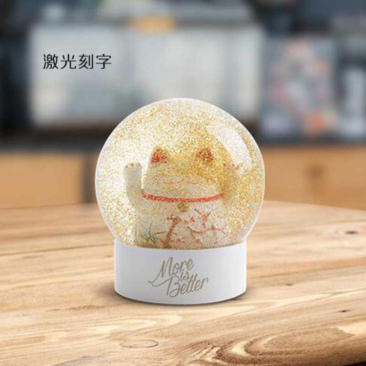 香港九猪招财猫摆件水晶球萌宠家居摆件店铺纳福创意礼品刻字logo