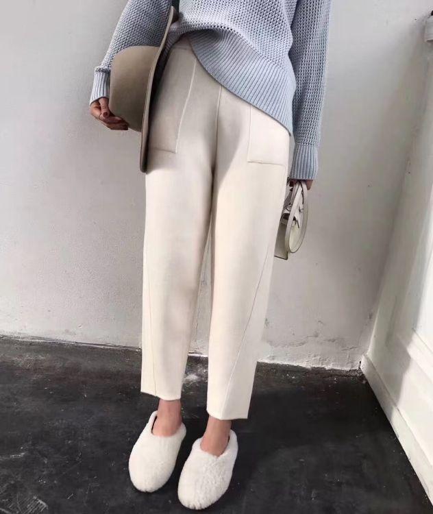 2018新款微商爆款水貂绒裤双口袋休闲针织裤羊绒裤黑杏哈伦裤