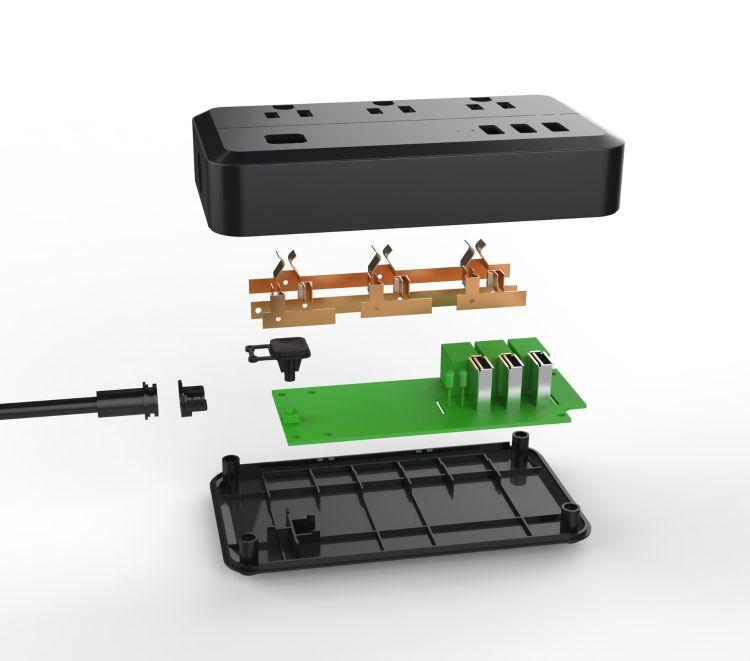 多功能美规WIFI分控插座  美规WiFi分控排插 智能WIFI插线板