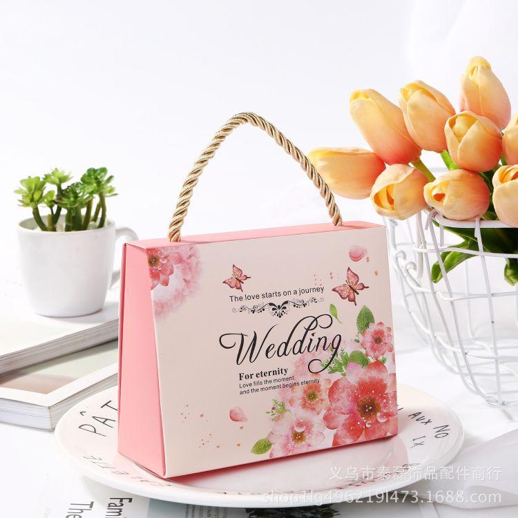 结婚喜糖袋 创意欧式婚礼手提糖果袋子 婚庆伴手礼品喜糖盒 纸盒