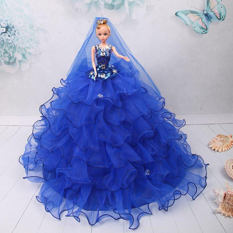 齐地款婚纱娃娃可爱娃娃婚纱主新娘儿童玩具手工女孩生日礼物摆件