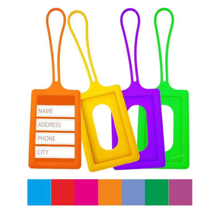 工厂定制简约硅胶卡通背包行李牌硅胶卡套旅行吊牌登机识别挂牌