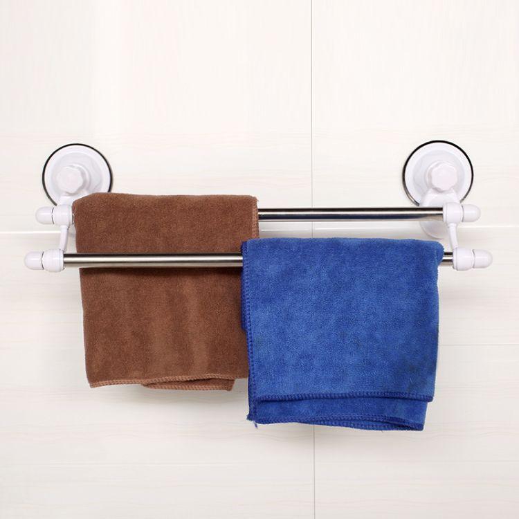 高敏1809 双杆70CM 塑料不锈钢吸盘毛巾架浴巾杆 浴室 台州