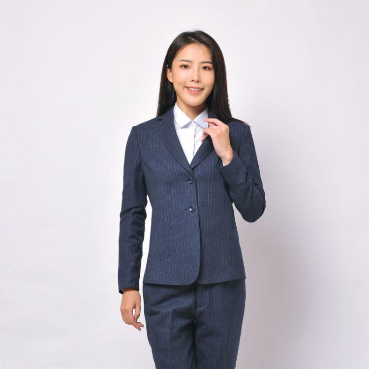 厂家成都正装韩版西服职业装深蓝条纹女装小西装套装定制订定做
