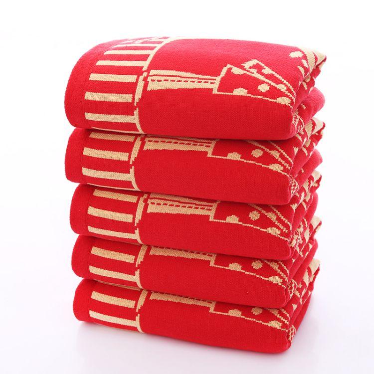 巾禧优品高阳棉毛巾直销婚庆红色提花喜庆毛巾结婚用品回礼不掉色礼盒