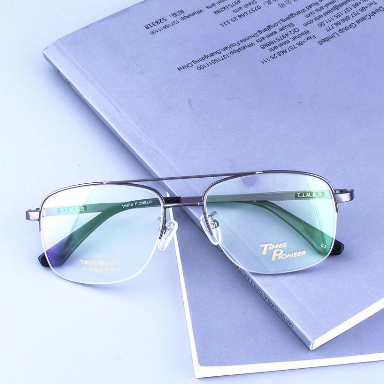 新款近视眼镜框批发 双梁半钛复古眼镜架厂家 超轻半框金属光学架