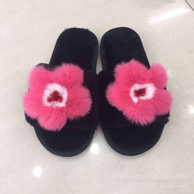 2017冬季新款皮毛一体羊剪绒拖鞋獭兔毛花朵鞋面羊毛剪绒拖鞋批发