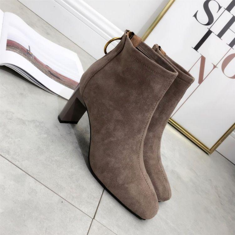 靴子女粗跟2018秋季新款简约百搭短筒女靴高跟后拉链韩版短靴裸靴