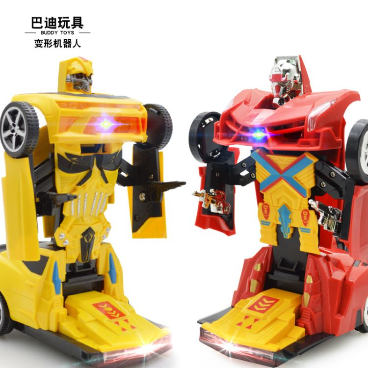 儿童玩具汽车模型电动变形车灯光音乐万向变型机器人赠品地摊热卖