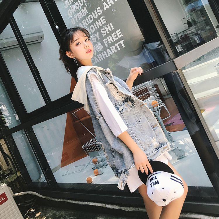 2019秋季新款破洞牛仔马甲女宽松百搭无袖韩版时尚背心潮女装尾货批发