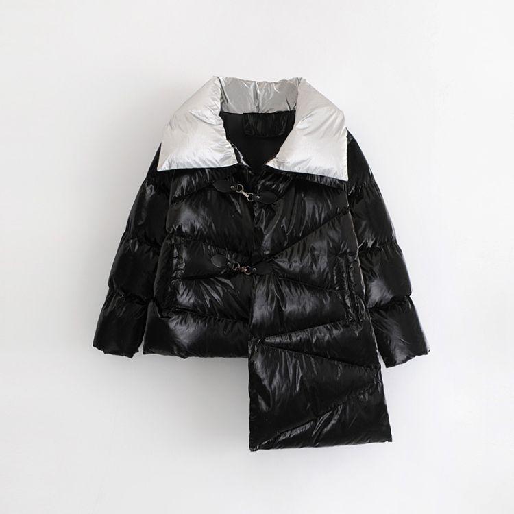 04DW11-8949       2018冬季新款休闲风女装不对称金属色棉衣外套