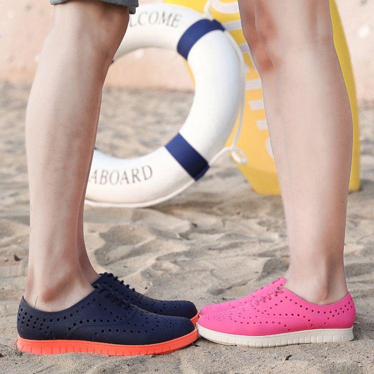 2018新款情侣洞洞鞋夏季沙滩鞋潮流透气凉拖鞋包头防滑休闲果冻鞋