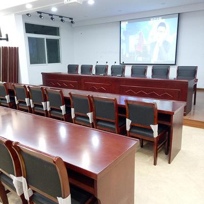 贵阳主席台会议桌实木皮培训长条桌演讲台大型高档领导发言办公桌
