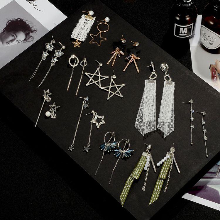 20款可选 韩版新款蕾丝长款耳环个性不对称水晶耳坠女饰品批发
