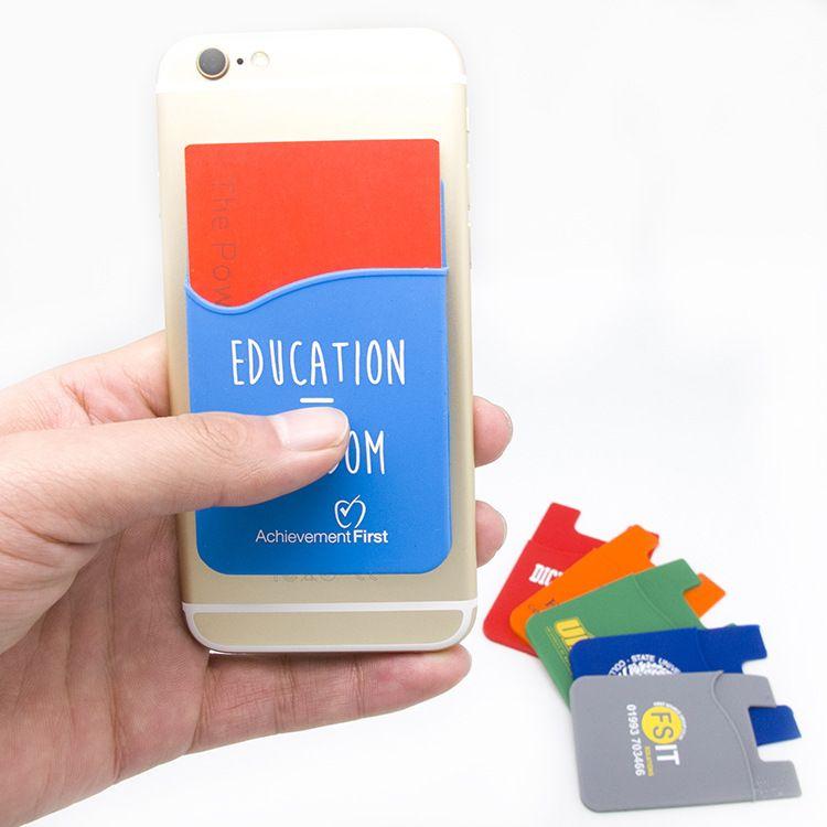 厂家可定制Logo3M不干胶手机卡套硅胶卡套硅胶手机背贴卡包