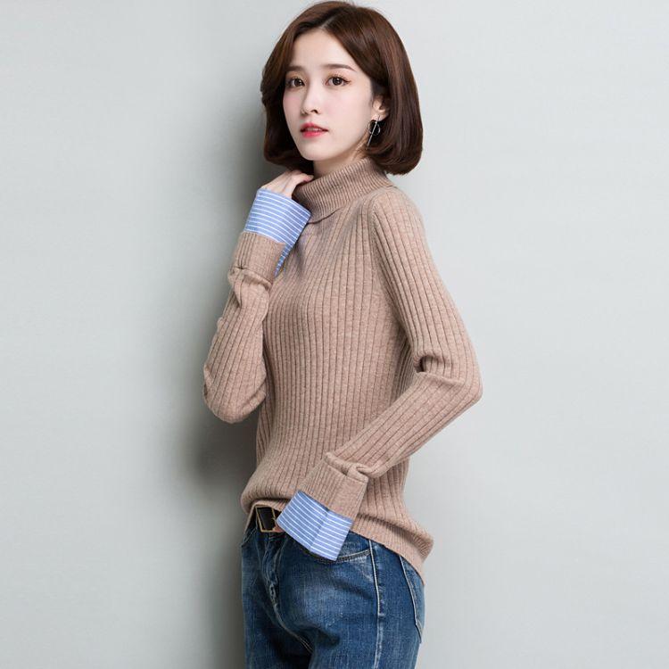 2018秋冬气质女装全羊毛针织打底衫  简约高领拼接衬衫袖套头毛衣