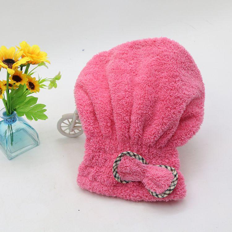 批发韩版珊瑚绒干发帽可爱蝴蝶结浴帽超强吸水柔软纤维速干公主帽