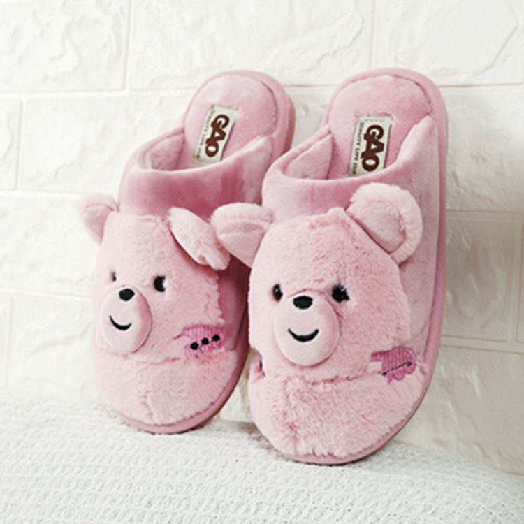 冬季女士卡通棉拖鞋可爱小熊防滑家居棉鞋加厚毛绒大童保暖棉鞋女