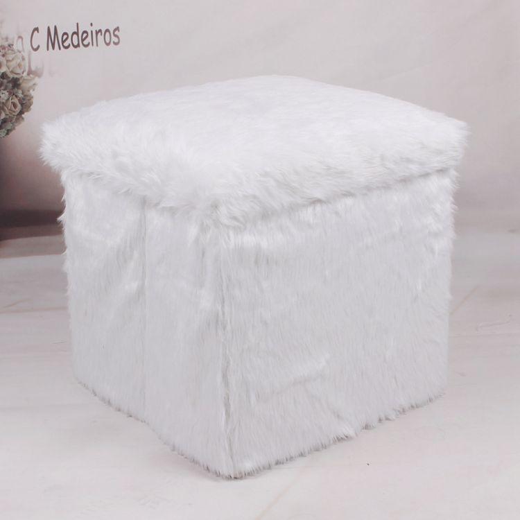 冬季新款毛绒保暖收纳凳大空间衣服被子创意折叠储物凳子厂家直销