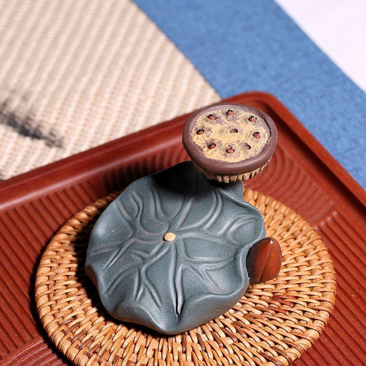 厂家供应宜兴紫砂茶宠批发 莲蓬盖托茶盘雕塑茶道用品摆件批发