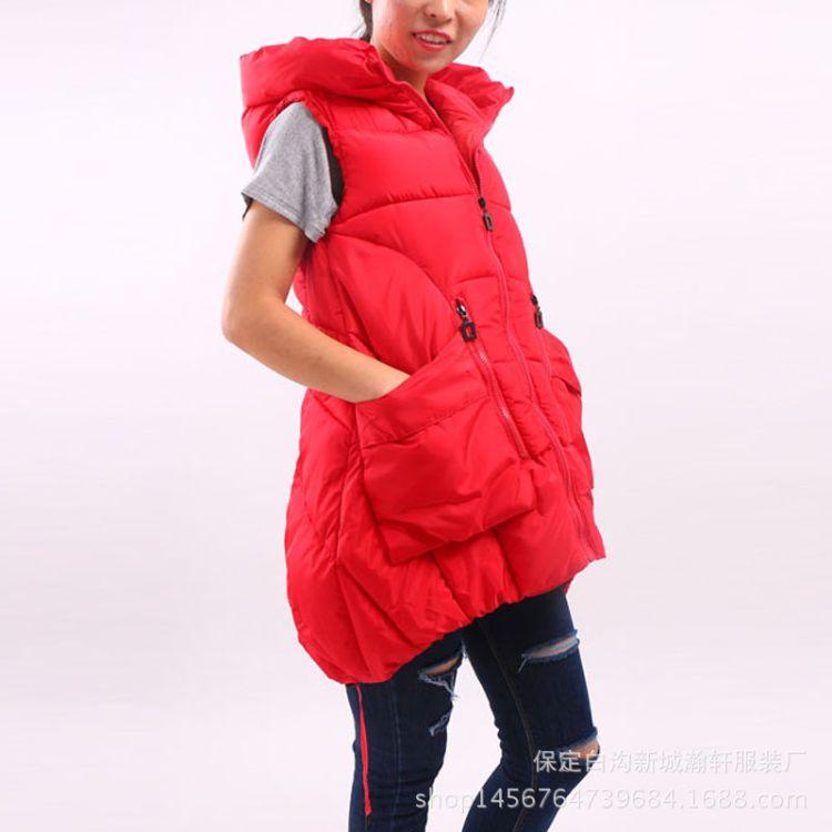 2016新款女士中长款棉衣 韩版时尚休闲大码女士马甲连帽纯色外套