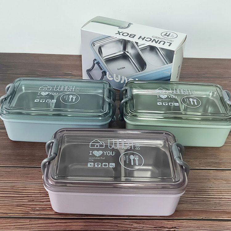 新款304不锈钢饭盒 密封长方形分格便当盒学生保温午餐盒厂家直销