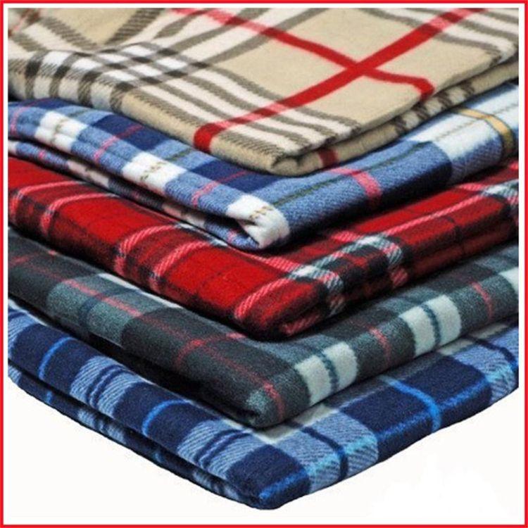 厂家定制外贸出口摇粒绒绒布料一次性阻燃双面航空毯服装内衬面料