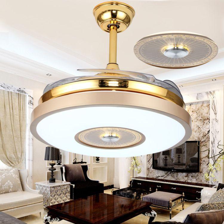 LED风扇吊扇水晶隐形节能灯现代欧式中式卧室客厅餐厅北欧简约
