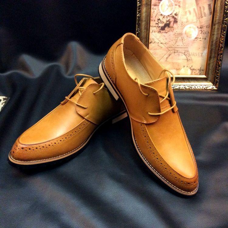 2018新款布洛克雕花男鞋复古英伦正装系带尖头皮鞋男士商务休闲鞋