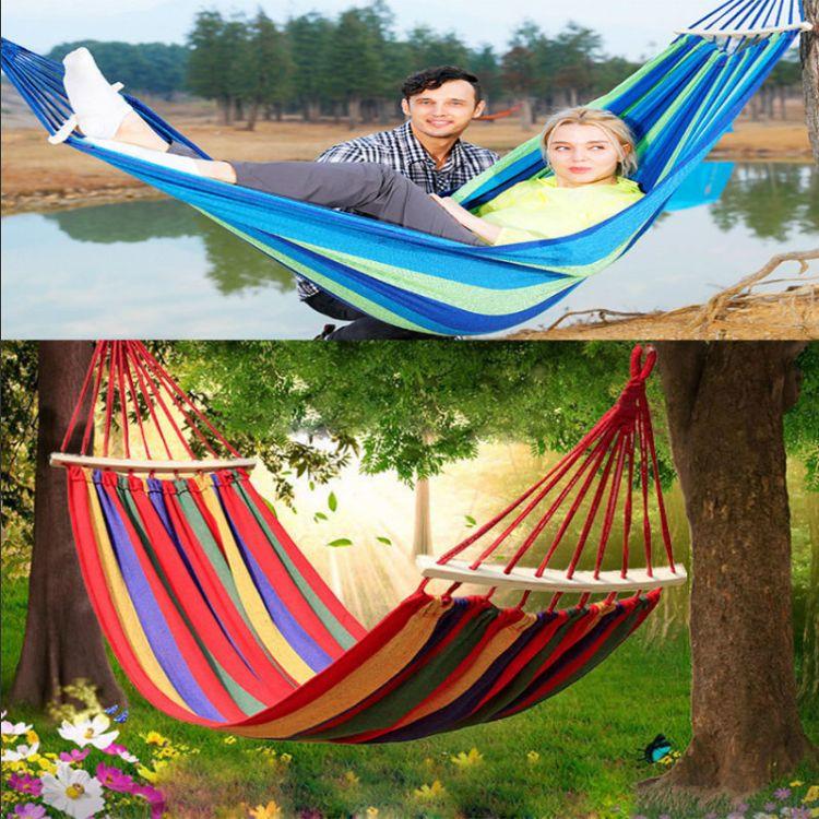 吊床 户外野营露宿旅游山地树林公园休闲网布吊床睡觉 送绑绳布袋