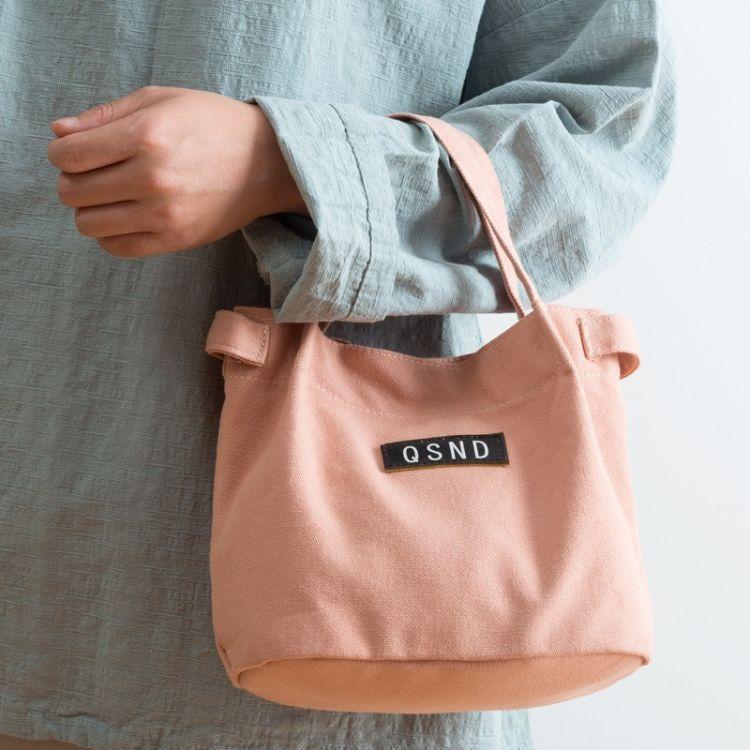 定制款小清新帆布袋手提包肩背饭盒袋带饭便当包非保温外出小布包