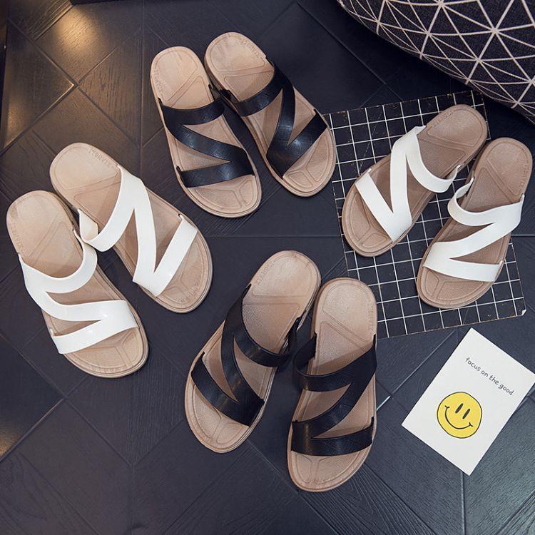 2018新款情侣沙滩鞋时尚外穿一字凉拖鞋防滑加厚潮流简约拖鞋批发