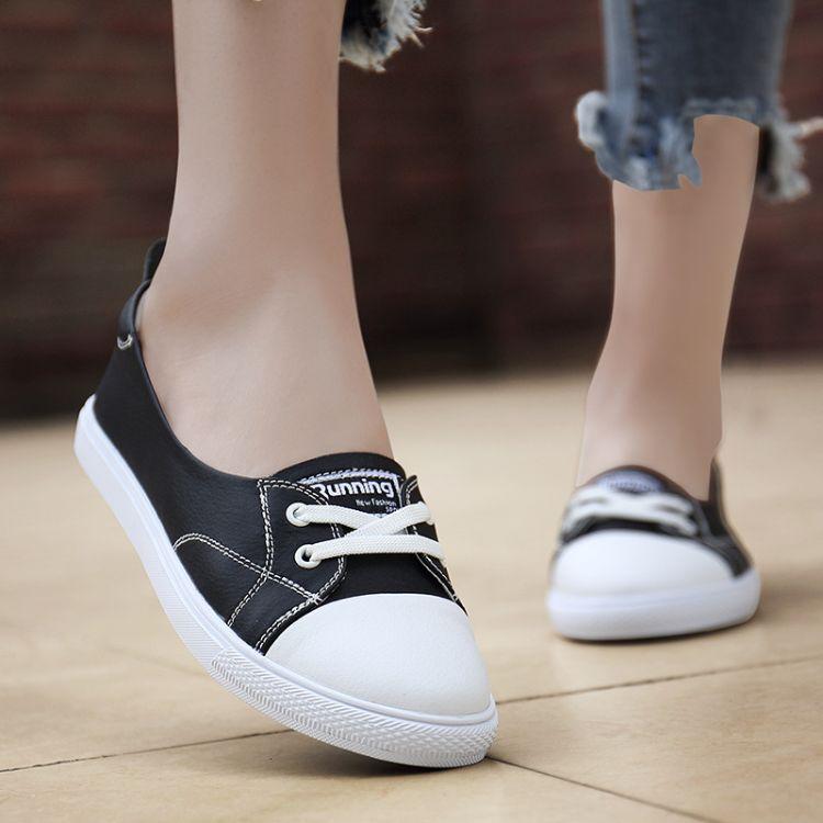 新款春秋女鞋真皮平底休闲百搭软乐福鞋外穿韩版学生小白鞋防滑潮
