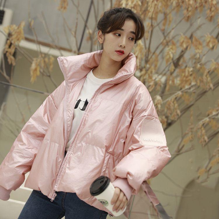 白鸭绒小个子网红短款粉色羽绒服女2019新款冬装加厚面包服外套潮淘宝直播货源