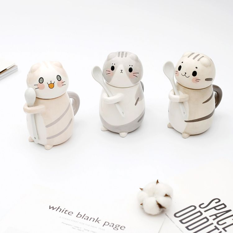 创意爆款卡通猫咪动物手绘陶瓷杯 牛奶咖啡杯礼品 陶瓷带盖马克杯