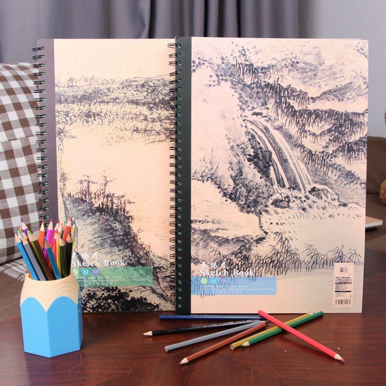 美术书法绘图用品A3侧翻速写本空白写生线圈手绘涂鸦绘画本批发