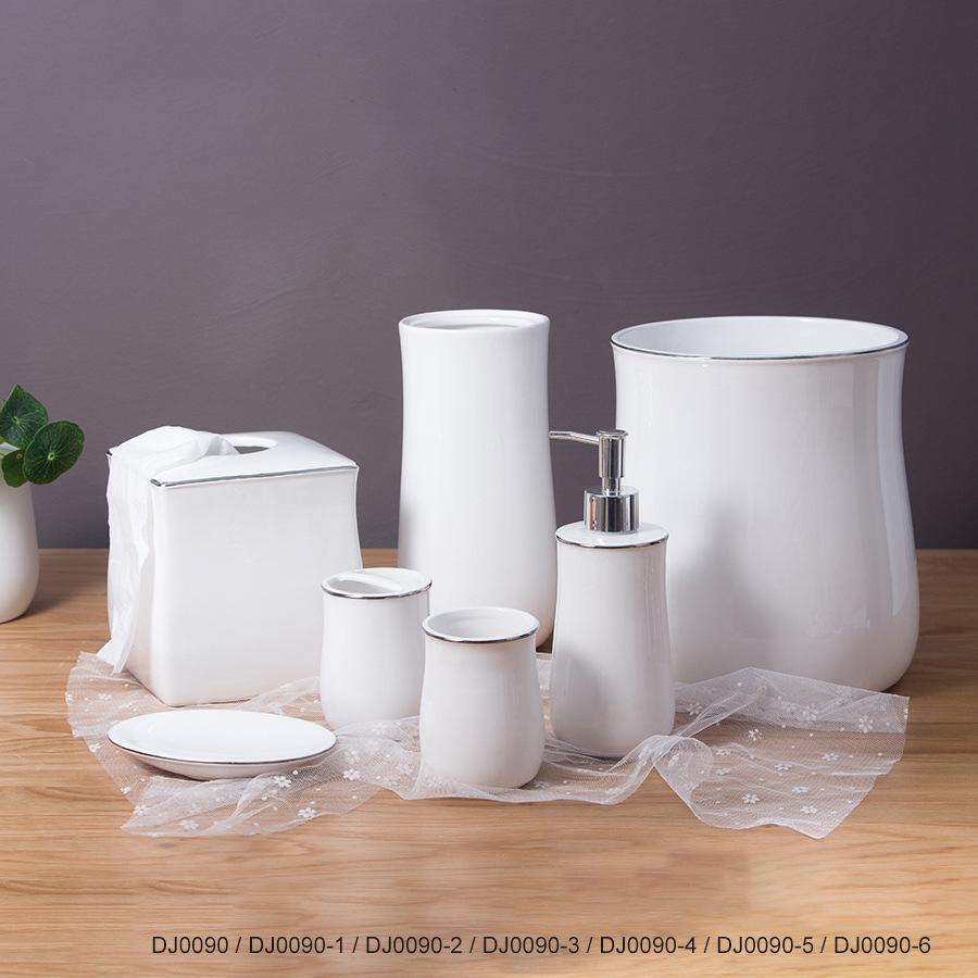 陶瓷卫浴洗漱套装 卫浴五件套沐浴露瓶陶瓷浴室用品套装厂家定制
