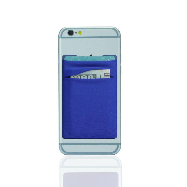 现货创意弹力莱卡双层卡位手机卡套 新款3M可移不残留背胶手机贴