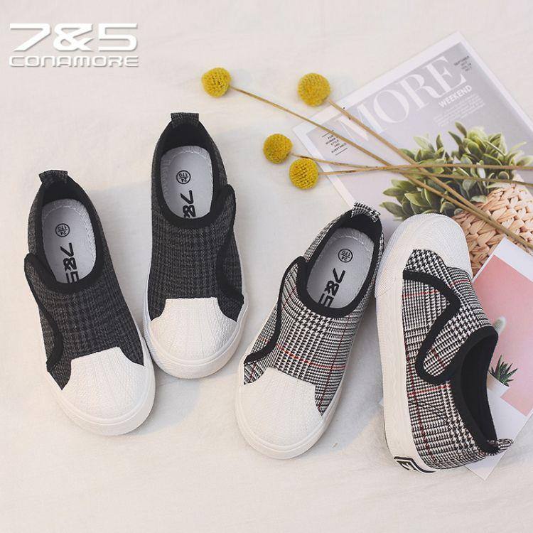 75童鞋2018年秋季新款格子儿童帆布鞋男女童魔术贴布鞋贝壳头板鞋
