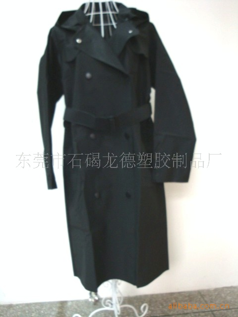 供应EVA风衣式雨衣/EVA雨衣(黑色款)