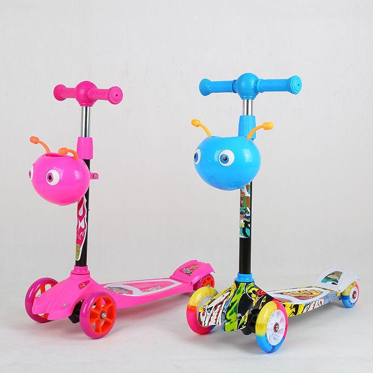 儿童甲虫四轮PU/PVC轮滑板车宝宝童车可升降脚踏滑板车厂家直销