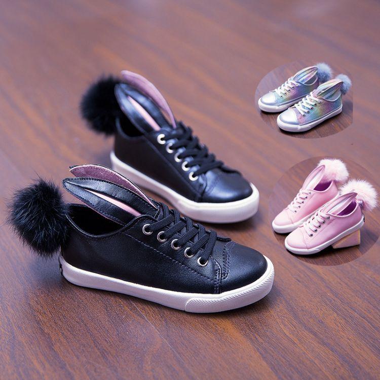 儿童运动鞋春女韩版2017春季新款童鞋外贸兔耳朵时尚休闲运动鞋潮