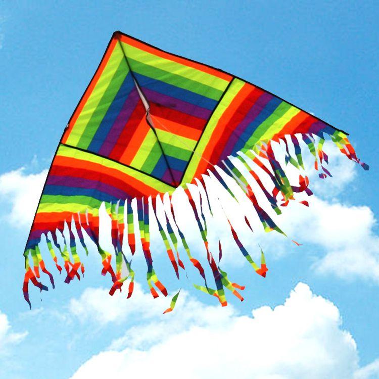 潍坊恒江风筝 彩虹风筝 易飞 空中效果漂亮 1.3米 多尾彩虹风筝