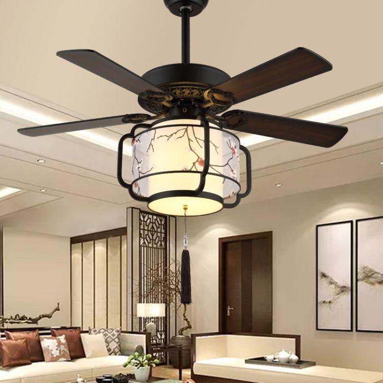 新中式风扇灯餐厅客厅茶楼会所吊扇灯创意吊扇灯LED风扇灯批发