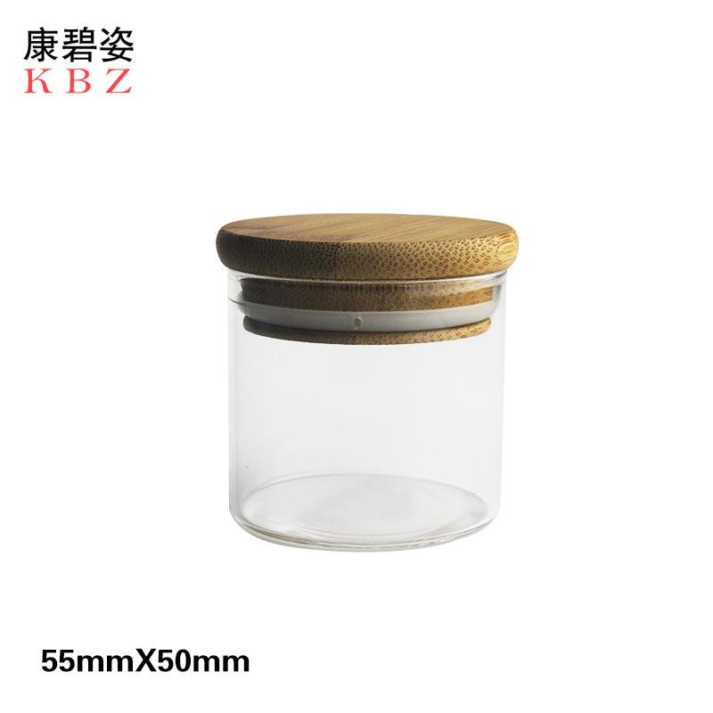 50ml高硼硅玻璃 密封罐批发 竹盖茶叶罐 透明玻璃储物罐