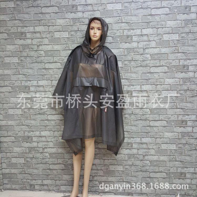 厂家定制 成人长款户外旅游时尚 eva透明书包位雨衣 可定制logo