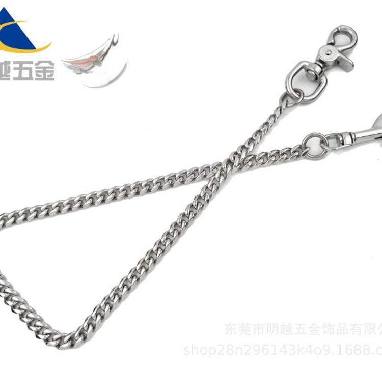 高端304不锈钢六面磨抛光纯铜复古做旧金属财布链裤链腰链