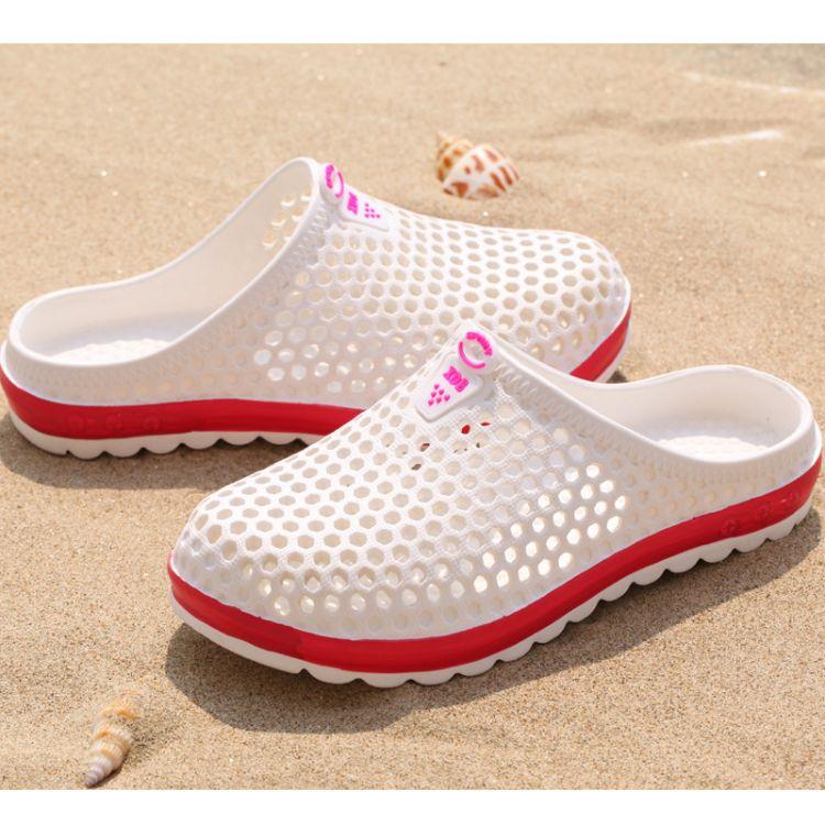 批发新款夏季eva男女鸟巢沙滩洞洞鞋 漂流情侣休闲防滑厚底凉拖鞋