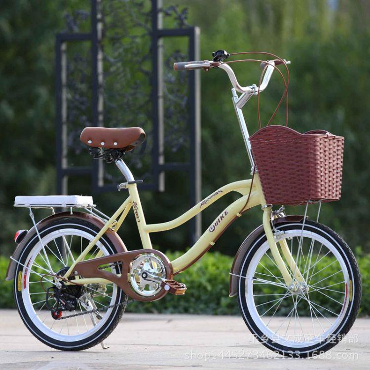厂家供应20寸复古淑女式变速单车大学生通勤代步车男女通用
