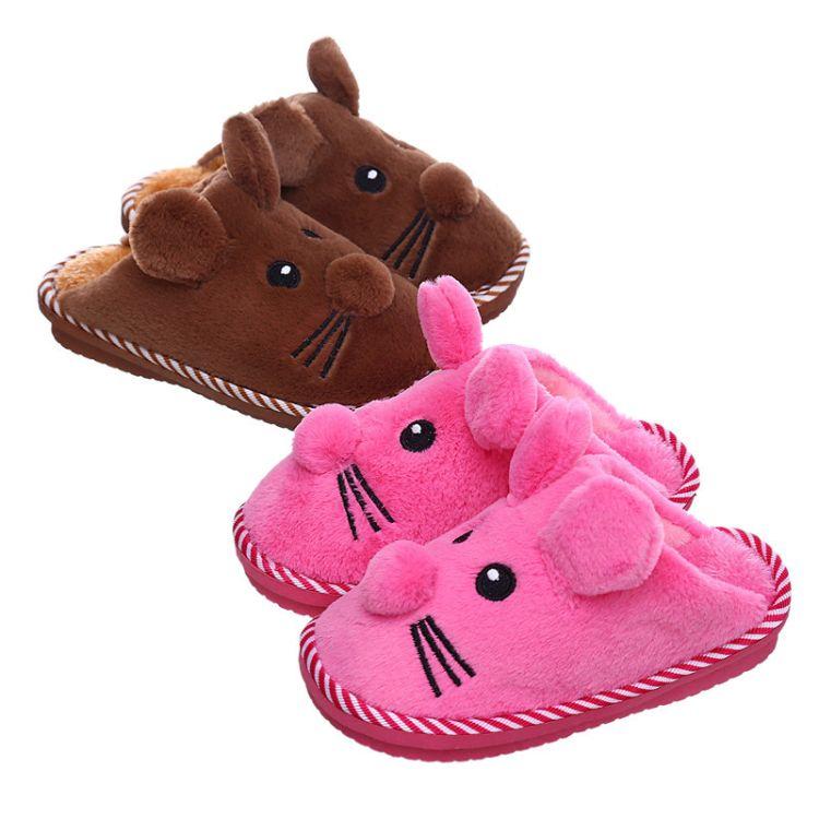 2017爆款儿童卡通米老鼠冬季棉拖鞋 包后跟保暖防滑地板拖鞋